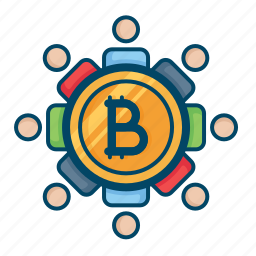 bitcoin, blockchain, buyers, connection, network, secure, sellers icon