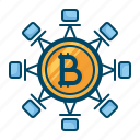 bitcoin, blockchain, connection, cryptocurrency, secure, technology, transaction icon