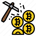 bitcoin, cryptocurrency, coin, pickaxe, mining
