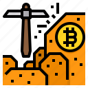 bitcoin, cryptocurrency, mining, coin, pickaxe