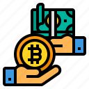 currency, exchange, bitcoin, cryptocurrency, hands