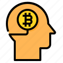 head, bitcoin, cryptocurrency, digital, currency, brain