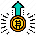 increase, bitcoin, cryptocurrency, value, up, arrow
