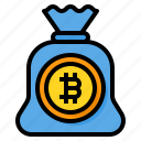 money, bag, bitcoin, cryptocurrency, finance, digital, currency