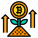 plant, bitcoin, cryptocurrency, digital, currency, growth