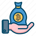 bag, bitcoin, bitcoins icon