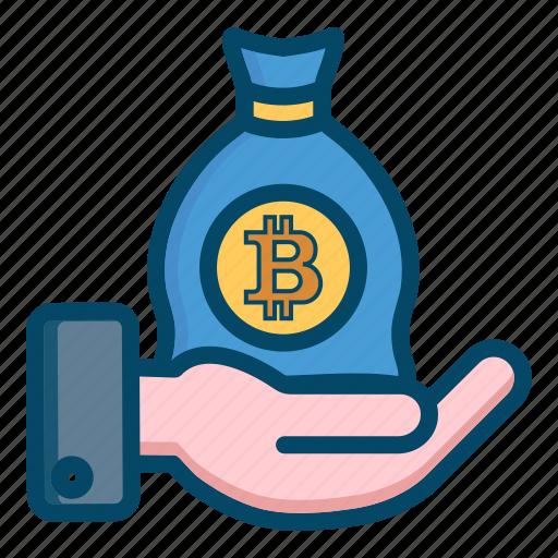 bag, bitcoin, bitcoins icon