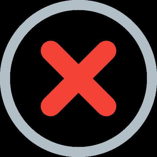 alert, cancel, danger, error, exit, fault, problem icon