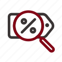 black friday, commerce, discount, find, magnifier, search, voucher icon