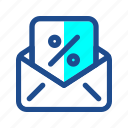 black friday, commerce, coupon, discount, invitation, mail, voucher icon