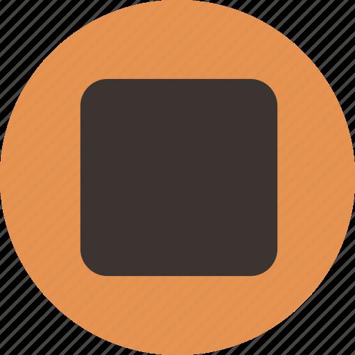 control, media, player, shape, square, stop icon