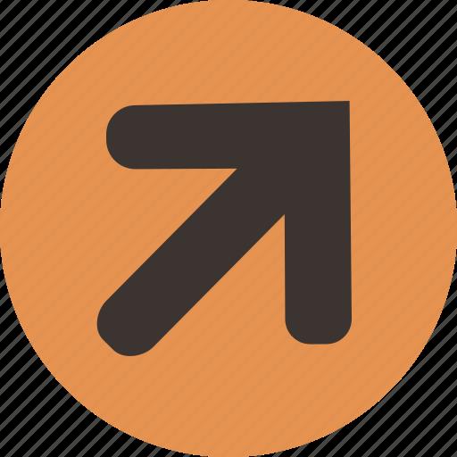 arrow, corner, right, top icon