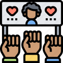 raise, supporter, movement, protest, cheering icon