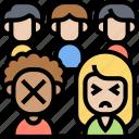 exclude, discrimination, bullied, social, prejudice icon