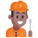 avatar, electrician, job, man, profession, user, work