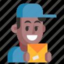 avatar, courier, job, man, profession, professional, work
