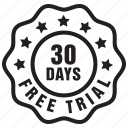 thirty, days, free, label, trial, badge