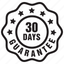badge, days, guarantee, label, thirty icon