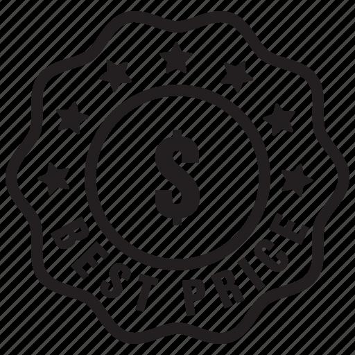 badge, best, dollar, guarantee, label, price icon