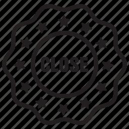 badge, close, label, offer icon