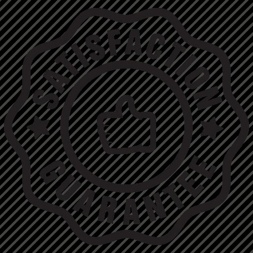 badge, customer, guarantee, label, review, satisfaction icon