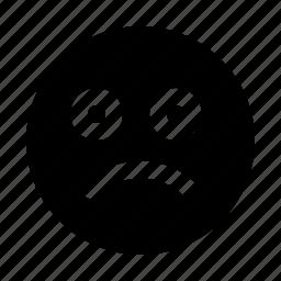application, emoji, interface, sad, software, web icon