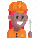 avatar, electrician, job, profession, user, woman, work