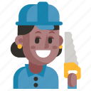 avatar, carpenter, job, profession, user, woman, work