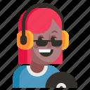 avatar, dj, job, profession, user, woman, work