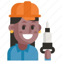 avatar, job, miner, profession, user, woman, work icon