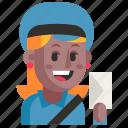 avatar, job, postman, profession, user, woman, work