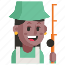 avatar, fisherman, job, profession, user, woman, work