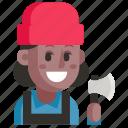 avatar, job, lumberjack, profession, user, woman, work
