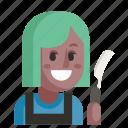 avatar, barber, job, profession, user, woman, work