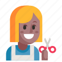 avatar, hairdresser, job, profession, user, woman, work