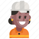 avatar, job, profession, road worker, user, woman, work