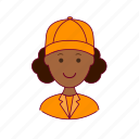 black woman, emprego, gari, job, professions, street-sweeper, trabalho, work icon
