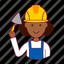 black woman, emprego, job, mason, pedreira, professions, trabalho, work icon
