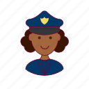 black woman, emprego, job, police officer, policial, professions, trabalho, work icon