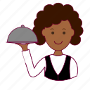 black woman, emprego, garçonete, job, professions, trabalho, waitress, work icon
