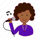 .svg, black woman, cantora, emprego, job, professions, singer, trabalho, work icon