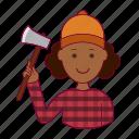 black woman, emprego, job, lenhadora, professions, trabalho, woodcutter, work icon