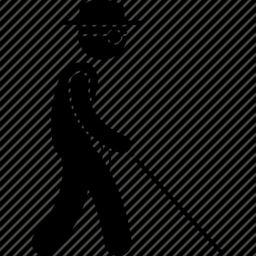 blind, man, stick, walking icon