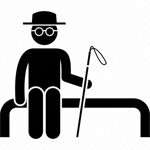 blind, disabled, handicapped, man, priority, seat, sitting icon
