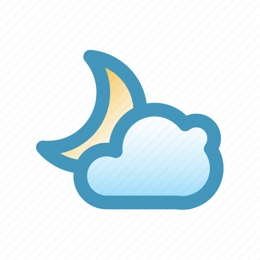 blitzcon, cloud, clouds, line, mix, moon, night, weather icon