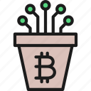 bitcoin, blockchain, closed, contact, cryptocurrency, pot icon