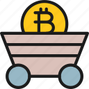 bitcoin, blockchain, coin, cryptocurrency, miner, trolley icon