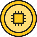bitcoin, blockchain, coin, color, cryptocurrency, motherboard icon