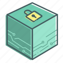block, blockchain, box, data, encrypt, secure icon