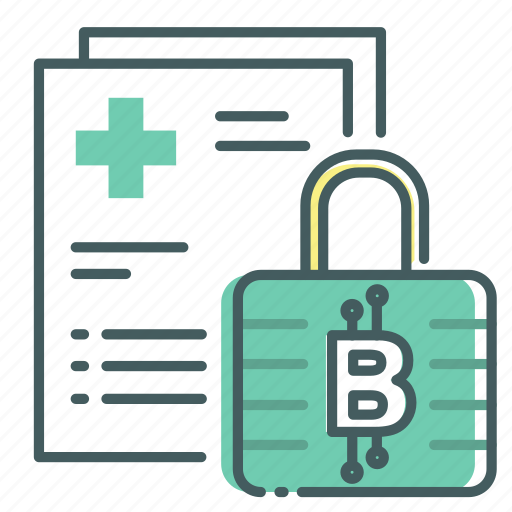 blockchain, data, lock, medical, privacy, secure icon